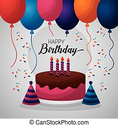 happy birthday card many balloons cake strawberry chocolate ...