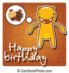 Happy birthday card, monster
