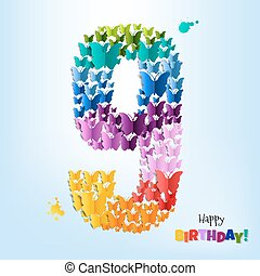 Happy Birthday Card Nine Years