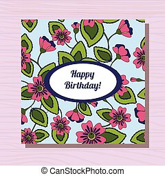 Happy birthday card on wooden background