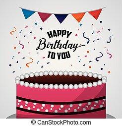 happy birthday card pennants confetti big strawberry cake ...