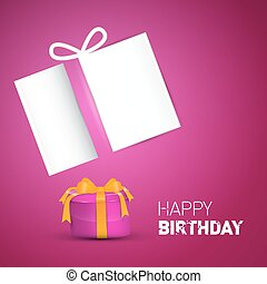 Happy Birthday Card. Pink Vector Birthday Background with Gift Box and Empty Paper.