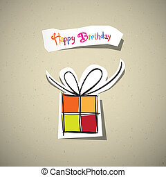 Happy Birthday Card. Present Box Cut From Paper on Recycled Paper Background