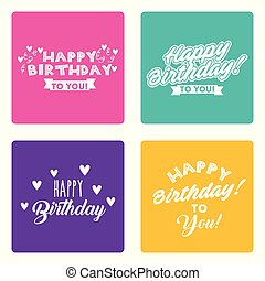 happy birthday card set lettering different syle decoration