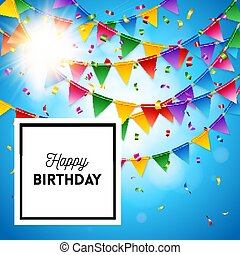 Happy birthday card stationery template in blue