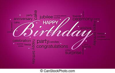 Happy Birthday Card - High resolution pink happy birthday...