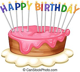 Happy Birthday card template with pink cake