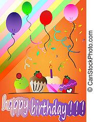 happy birthday card vector illustra
