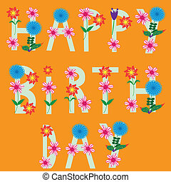 Happy birthday card, vector illustration