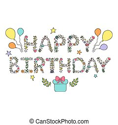 happy birthday card - Vector illustration of happy birthday...