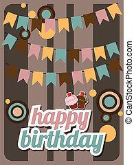 Happy birthday card, vintage retro, vector