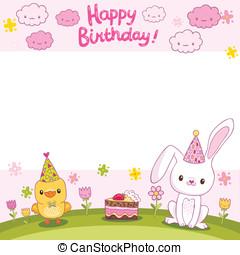 Happy Birthday card with a bunny and bird