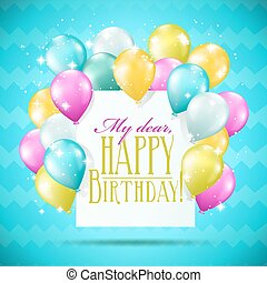 happy birthday card with balloons and sparkles on blue background