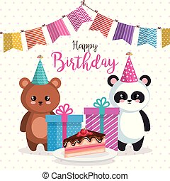 happy birthday card with bear panda and teddy