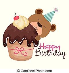 happy birthday card with bear