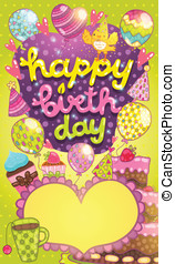 Happy Birthday card with cake, balloon and cupcake