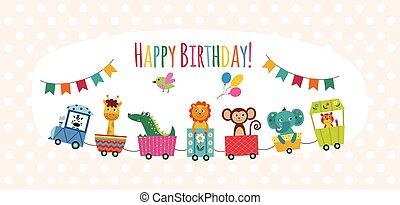Happy birthday card with cartoon animals on toy train, flat vector illustration.