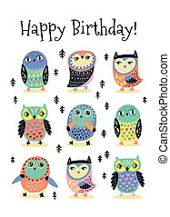 Happy Birthday card with cartoon colorful owls. Vector illustration
