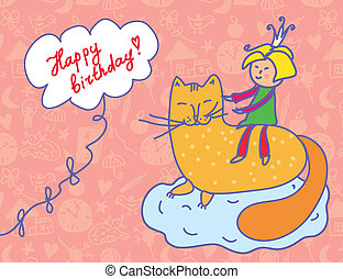 Happy birthday card with child and cat funny
