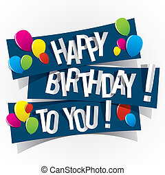 Happy Birthday Card With Colored Balloons Vector...
