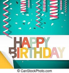 Happy Birthday Card with Confetti Retro Vector Illustration