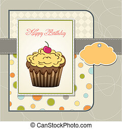 happy birthday card with cupcake