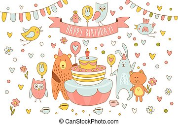 Happy Birthday card with cute animals near holiday cake with candle. Bear, rabbit, kitten owl and other birds. Line art with colorful fill. Cartoon vector design