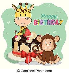 happy birthday card with cute animals