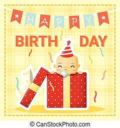 Happy birthday card with cute baby 1