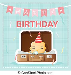 Happy birthday card with cute baby