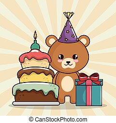 happy birthday card with cute bear