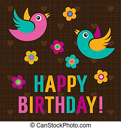 Happy Birthday Card with cute birds