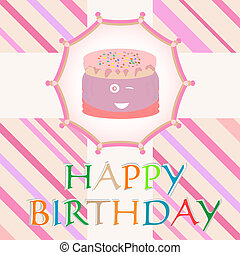 happy birthday card with cute cake