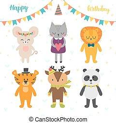 Happy Birthday card with cute cartoon animals.