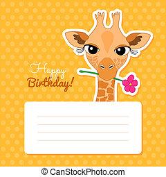 Happy Birthday Card with Cute Cartoon Giraffe