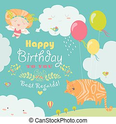 Happy birthday card with cute cat and angel