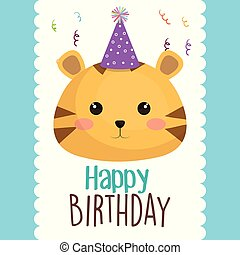 happy birthday card with cute cat character