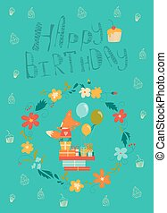 Happy birthday card with cute fox in wreath