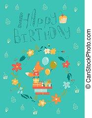 Happy birthday card with cute fox in wreath