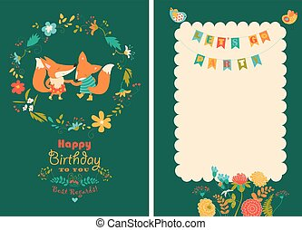 Happy birthday card with cute foxes in wreath