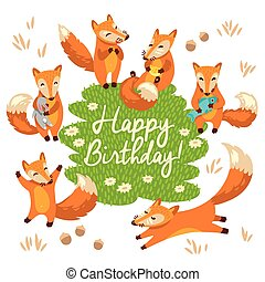 Happy birthday card in cartoon style with funny foxes