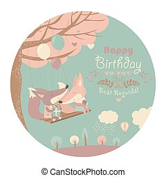 Happy birthday card with cute foxes