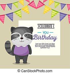 happy birthday card with cute raccoon