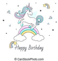 Happy birthday card with cute unicorn. Vector