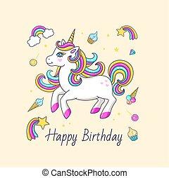 Happy birthday card with cute unicorn.