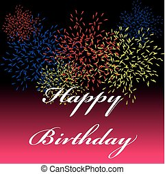 Happy birthday card with firework isolated  on color background.