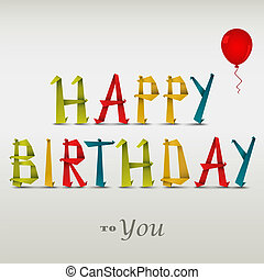 Happy birthday card with folded colored paper