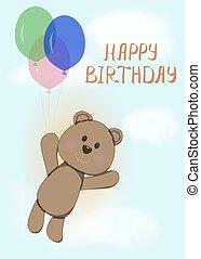 Happy birthday card with fun bear