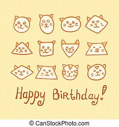 Happy Birthday Card with funny cat muzzles on yellow background.