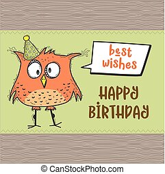 happy birthday card with funny doodle bird